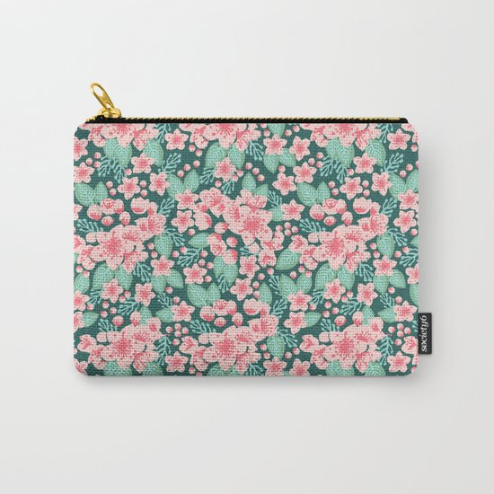 Cherry Blossom spring summer boho floral flower gardening nature botanical nature flowers florals Carry-All Pouch