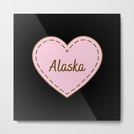 I Love Alaska Simple Heart Design Metal Print