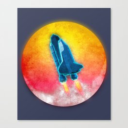 Synthwave neon retro Space shuttle Canvas Print