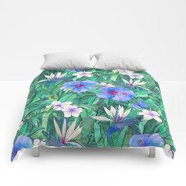 White Bird of Paradise & Blue Hibiscus Tropical Garden Comforters