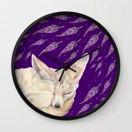Fennec Fox Feather Dreams in Purple Grape Wall Clock