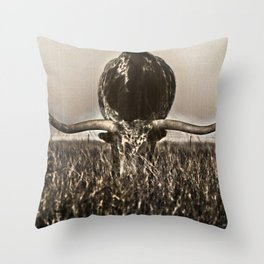 Old Photo of Longhorn Throw Pillow