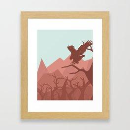 Eagle landing in a tree Framed Art Print