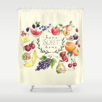home sweet home Shower Curtains featuring Home Sweet Home by Brooke Weeber