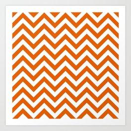 Mango Orange Chevrons Pattern Art Print