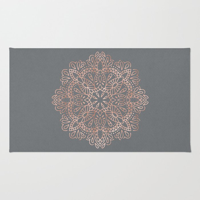 Mandala Rose Gold Pink Shimmer on Soft Gray by Nature Magick Rug