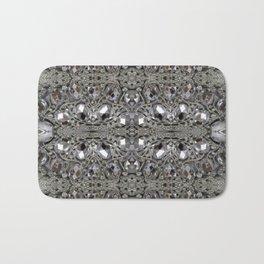 girly chic glitter sparkle rhinestone silver crystal Bath Mat