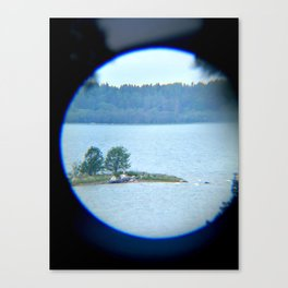 Through binoculars and cellphone Canvas Print