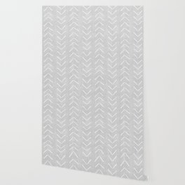 Mudcloth Big Arrows in Grey Wallpaper
