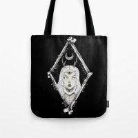 bones Tote Bags featuring Bones by alesaenzart
