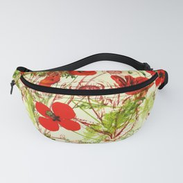 Vintage Red Green Poppies Summer Wildflowers Fanny Pack