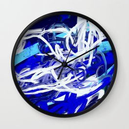 Blue & White Abstract Wall Clock