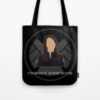 agents of shield Tote Bags featuring Agents of S.H.I.E.L.D. - May by MacGuffin Designs