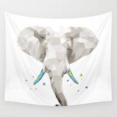 Geosafari | Elephant (White) Wall Tapestry