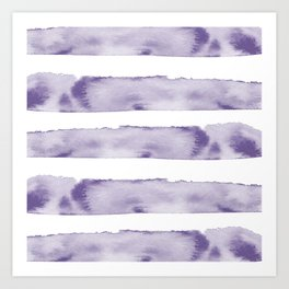 Watercolour Stripes in Violet Art Print