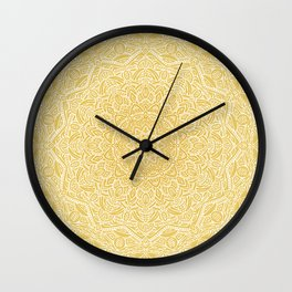 Most Detailed Mandala! Yellow Golden Color Intricate Detail Ethnic Mandalas Zentangle Maze Pattern Wall Clock