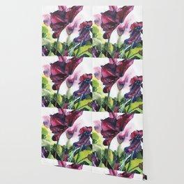 Cyclamen watercolor, pink flowers Wallpaper