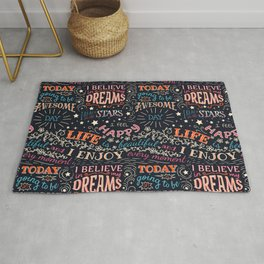 Happy life affirmations pattern Rug