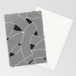 Modern Scandinavian B&W Black and White Curve Graphic Memphis Milan Inspired Stationery Cards