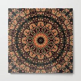 Ombre Floral Mandala Metal Print