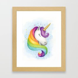 Rainbow Unicorn Framed Art Print