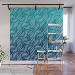 Japanese style wood carving pattern in blue Wall Mural