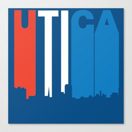 Red White And Blue Utica New York Skyline Canvas Print