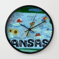 kansas city Wall Clocks featuring KANSAS by Christiane Engel