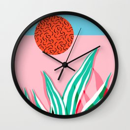 Freakin' - memphis throwback style palm springs neon art print 1980s vintage desert road trippin Wall Clock
