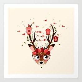 Biche et cabanes à oiseaux (rose) Art Print