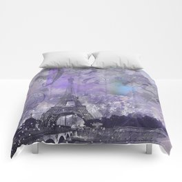 Purple Paris Watercolor Art Comforters