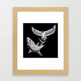 The shark and the eagle back in black Framed Art Print