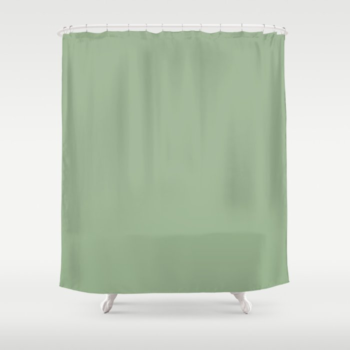 Solid Color Sage Green Shower Curtain