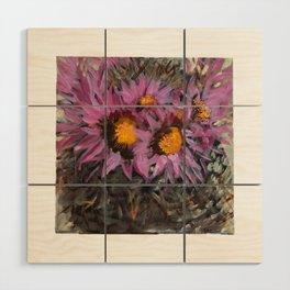 Cactus Blossoming Wood Wall Art