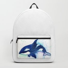 Killer Whale Orca Watercolor Backpack