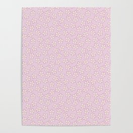 Small Flowers in Cream on Pink Poster