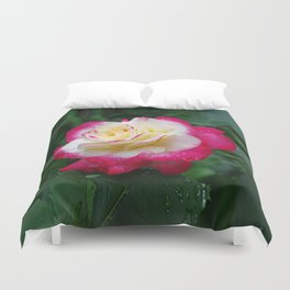 Red and white, Double Delight Rose Duvet Cover
