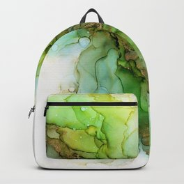 Fresh Spring Blooms - Green Gold Abstract Ink Backpack