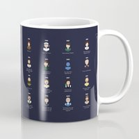 robin williams Mugs featuring The Faces of Robin Williams by Dorothy Leigh