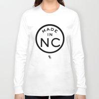north carolina Long Sleeve T-shirts featuring NC North Carolina (black) by DCMBR - December Creative Group