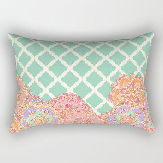 Floral Doodle on Mint Moroccan Lattice Rectangular Pillow
