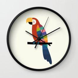 Rainbow Parrot Wall Clock