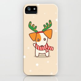 Jack Russell Terrier with Reindeer Antlers on snowy background Illustration iPhone Case
