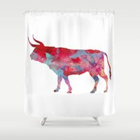 bull Shower Curtains featuring Bull by WatercolorGirlArt