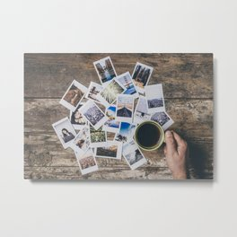 Polaroids prints on a wooden table Metal Print