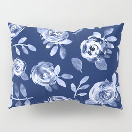 Hand painted navy blue white watercolor floral roses pattern Pillow Sham