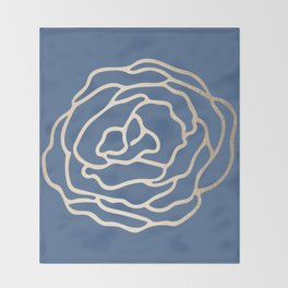 Flower in White Gold Sands on Aegean Blue Throw Blanket