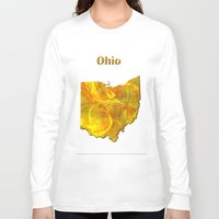 ohio Long Sleeve T-shirts featuring Ohio Map by Roger Wedegis