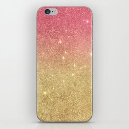 Pink abstract gold ombre glitter iPhone Skin