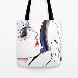 Woman holding shoes, Fashion Beauty, Fashion Painting, Fashion IIlustration, Vogue Portrait, #16 Tote Bag